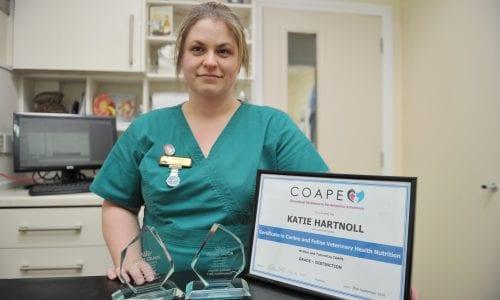 Veterinary Nurse Katie Hartnoll with her certificate