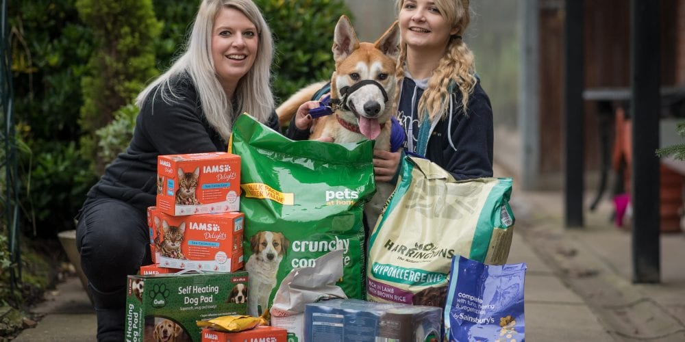 Max shows off donated petfood